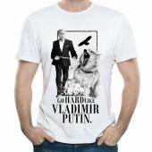 "Мужская футболка ""Go hard like Vladimir Putin с принтом"